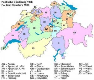 Karte mit den Kantonen der Schweiz